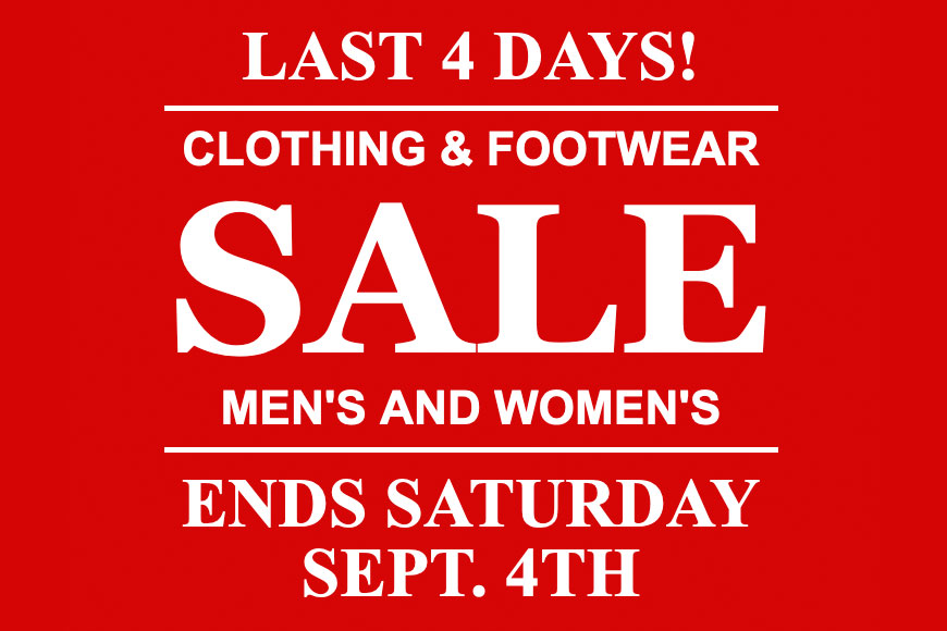 Last 4 Days! Clothing & Footwear Sale - O'Connors Calgary